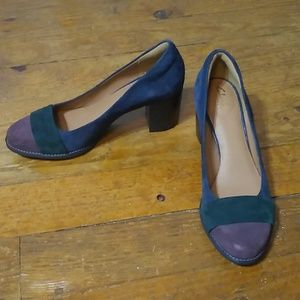 Gorgeous suede colorblock pumps with a block heel